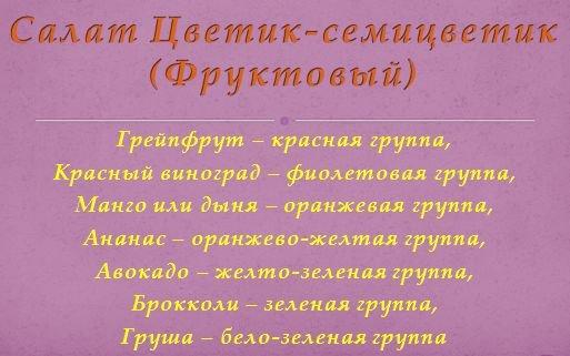 7 цветовых групп - салаты