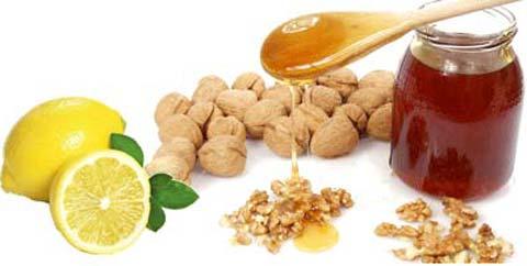 Мед, лимон, грецкие орехи